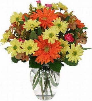 Eskişehir çiçek gönderme sitemiz güvenlidir  vazo içerisinde karışık mevsim çiçekleri