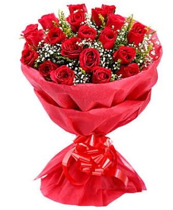 21 adet kırmızı gülden modern buket  Eskişehir internetten çiçek siparişi