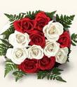 Eskişehir cicek , cicekci  10 adet kirmizi beyaz güller - anneler günü için ideal seçimdir -