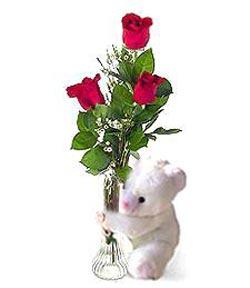 oyuncak ve 3 adet gül  Eskişehir anneler günü çiçek yolla