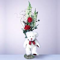 2 adet gül ve panda özel  Eskişehir 14 şubat sevgililer günü çiçek