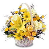 sadece sari çiçek sepeti   Eskişehir internetten çiçek satışı
