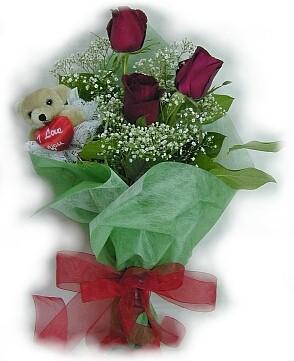 3 adet gül ve küçük ayicik buketi  Eskişehir güvenli kaliteli hızlı çiçek