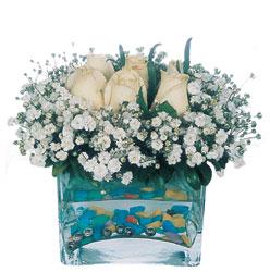 Eskişehir 14 şubat sevgililer günü çiçek  mika yada cam içerisinde 7 adet beyaz gül