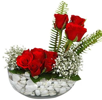 cam içerisinde 9 adet kirmizi gül  Eskişehir çiçek mağazası , çiçekçi adresleri