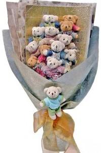 12 adet ayiciktan buket tanzimi  Eskişehir güvenli kaliteli hızlı çiçek