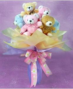 8 adet ayiciktan buket  Eskişehir hediye sevgilime hediye çiçek