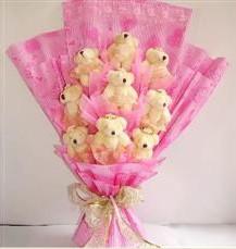 9 adet pelus ayicik buketi  Eskişehir İnternetten çiçek siparişi