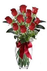 11 adet kirmizi gül vazo mika vazo içinde  Eskişehir çiçek yolla , çiçek gönder , çiçekçi