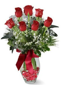 Eskişehir çiçek servisi , çiçekçi adresleri  7 adet kirmizi gül cam vazo yada mika vazoda