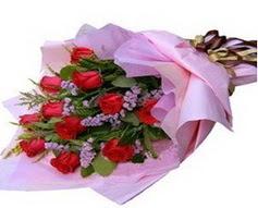 11 adet kirmizi güllerden görsel buket  Eskişehir internetten çiçek satışı