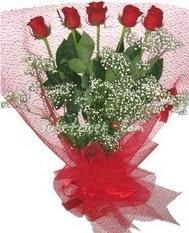 5 adet kirmizi gülden buket tanzimi  Eskişehir çiçekçiler