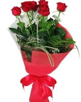 5 adet kırmızı gülden buket  Eskişehir çiçek satışı
