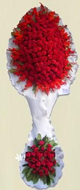 Çift katlı kıpkırmızı düğün açılış çiçeği  Eskişehir İnternetten çiçek siparişi