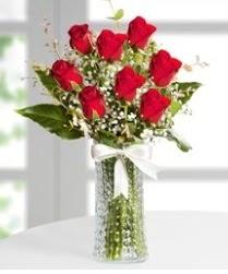 7 Adet vazoda kırmızı gül sevgiliye özel  Eskişehir anneler günü çiçek yolla