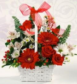 Karışık rengarenk mevsim çiçek sepeti  Eskişehir çiçek servisi , çiçekçi adresleri