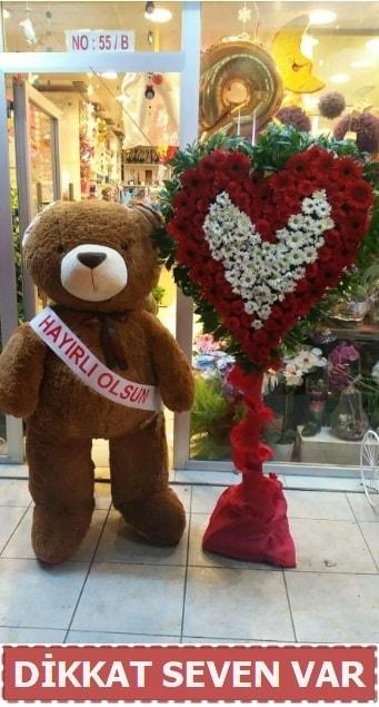 1.5 Metre peluş ayı ve Kalp  Eskişehir internetten çiçek satışı