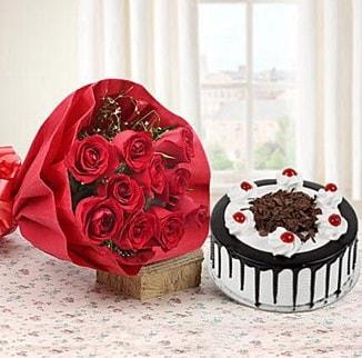 12 adet kırmızı gül 4 kişilik yaş pasta  Eskişehir cicek , cicekci