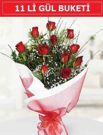 11 adet kırmızı gül buketi Aşk budur  Eskişehir internetten çiçek satışı
