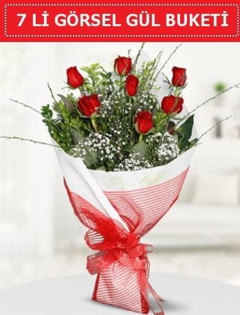 7 adet kırmızı gül buketi Aşk budur  Eskişehir online çiçek gönderme sipariş