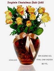 Eskişehir hediye sevgilime hediye çiçek  mika yada Cam vazoda 12 adet sari gül